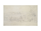 Distant View of Lowther Castle (Park Scene), 1809 (Graphite on Wove Paper) Giclee Print by Joseph Mallord William Turner