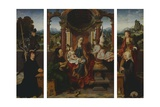 The Holy Family, Ca 1530, by Joos Van Cleve (1485-1540), Triptych. Belgium, 16th Century Giclée-Druck von Joos Van Cleve