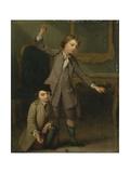 Two Boys of the Nollekens Family, Probably Joseph and John Joseph, Playing at Tops, 1745 Giclee Print by Joseph Francis Nollekens