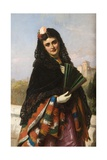 Spanish Lady with a Fan Giclee Print by John-bagnold Burgess