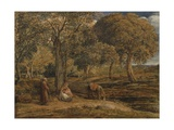 Landscape with Family Group, Possibly the Rest on the Flight into Egypt, C.1827 Giclee Print by John Linnell