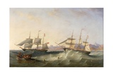 A Clipper and an East Indiaman Leaving Port Giclee Print by John Wilson Carmichael