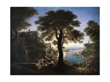 Castle by River, 1820 Giclee Print by Karl Friedrich Schinkel