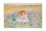 A Young Girl in a Field of Salvia, Oxeye Daisies and Meadow Foxtail, (W/C, Gouache) Giclee Print by Konstantin Egorovich Makovsky