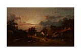 Village Scene, Sunset, C.1870 Giclee Print by Jules Dupre