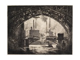 Under the Bridges, Chicago, 1910 Giclee Print by Joseph Pennell