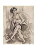Seated Nude Model, C.1925-26 Gicléetryck av Jules Pascin