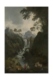 A Waterfall with Bathers, C.1800-17 Giclee Print by Julius Caesar Ibbetson