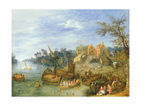 River Landscape with Boats by a Village and Figures on the Riverbank Giclee Print by Joseph van Bredael