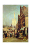 Market at Hennebont Giclee Print by Jules Achille Noel