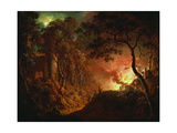 Cottage on Fire, C.1786-87 Giclee Print by Joseph Wright of Derby