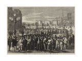 Workmen Waiting to Be Engaged in the Place of the Hotel De Ville, Paris Giclee Print by Jules Pelcoq