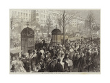The Boulevards, Paris, on New Year's Day Giclee Print by Jules Pelcoq