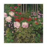 Flowers and Garden Fence; Bluhende Blumen Am Gartenzaun Giclee Print by Kolo Moser