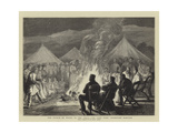 The Prince of Wales in the Terai, the Camp Fire, Thibetans Dancing Wydruk giclee autor Joseph Nash