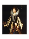 Portrait of Archduchess Maria Maddalena of Austria with Her Son Ferdinand Ii, 1622-23 Giclee Print by Justus Sustermans