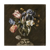 Juan de Arellano - Tulips, Daffodils, Irises and Other Flowers in a Glass Vase on a Sculpted Stand, with a Butterfly - Giclee Baskı