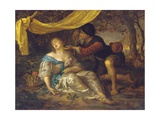 A Shepherd Kneeling over a Lady Sleeping under a Canopy in a Wooded Landscape Giclee Print by Karel De Moor