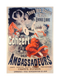 Poster Advertising the Concert Des Ambassadeurs, 1884 Giclee Print by Jules Chéret