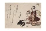 Women Painting Fans Giclee Print by Katsushika Hokusai