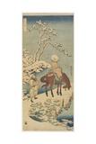 Horseman in Snow, 1833-1834 Giclée-Druck von Katsushika Hokusai