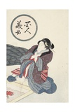 Woman Warming Her Feet at Hearth Giclee Print by Keisai Eisen