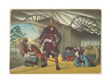 Warrior Departing for a Battle, C. 1880-1899 Giclee Print by Kobayashi Kiyochika