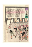 Old Man Carrying a Flag Is Leading a Group of Male Citizens in a Procession at Night Giclee Print by Kobayashi Kiyochika