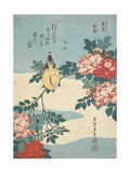 Japanese Nightingale and Spray of Roses, C. 1832 Giclée-tryk af Katsushika Hokusai