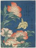 Peonies and Canary, C. 1833 Giclée-tryk af Katsushika Hokusai