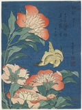 Peonies and Canary, C. 1833 Gicléedruk van Katsushika Hokusai