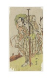 An Actor in a Role Standing with a Paddle Giclee Print by Katsukawa Shunsho