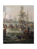 Royal Fleet Following Louis XVI at Cherbourg June 23 Giclee Print by Louis Philippe Crepin