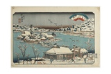 Evening Snow at Shinobugaoka, 1843-1847 Giclee Print by Keisai Eisen