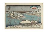 Evening Snow at Shinobugaoka, 1843-1847 Giclee Print by Keisai Eisen