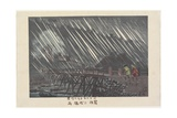 Rain at Saegusa Bridge in Hakone, Ame, 1880 Giclee Print by Kobayashi Kiyochika