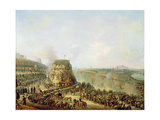 The Emperor Napoleon III (1808-73) and the Empress Eugenie (1829-1920) Visiting the Chaillot Hill Giclee Print by Louis Moullin
