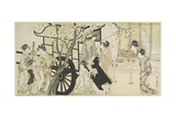 (Viewing Cherry Blossoms Likened to an Imperial Carriage Scene), C. 1798 Giclee Print by Kitagawa Utamaro