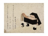 Black Lacquer Box with Koto Strikers Giclee Print by Katsushika Hokusai