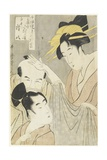 Komurasaki of the Muuraya House, Shirai Gonpachi and Viperous Jihe, 1798-1800 Giclee Print by Kitagawa Utamaro