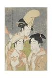 Asazuma-Bune, Fan-Seller, and Poetic Epithets, 1793 Giclee Print by Kitagawa Utamaro
