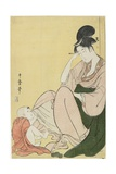Woman and a Child Pointing, 1794-1795 Giclee Print by Kitagawa Utamaro