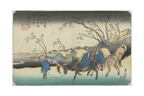No. 20:View of Hiratsukahara in Rain Near Kustukake Station, 1835-1836 Giclee Print by Keisai Eisen