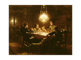 Family Supper in the Lamp Light, 19th Century Giclee Print by Knut Ekvall