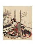 Woman Arranging Bonkei, 1820-1834 Gicléedruk van Katsushika Hokusai
