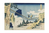 Suspension Bridge Between Hida and Etchu Provinces, 1833-1834 Giclee Print by Katsushika Hokusai