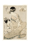 The Courtesan Takigawa and Her Attendant from the Ogiya in Allusion to the Poet, 1800-02 Giclee Print by Kitagawa Utamaro