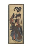 Waitress Holding a Black Lacquer Stand, Early 19th Century Giclee Print by Keisai Eisen