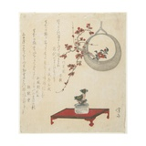 (New Year's Flower Arrangement on a Table and in a Hanging Vase), Early 19th Century Giclee Print by Keisai Eisen