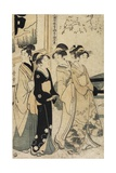 A Young Man and Three Women and Oxcart in Front of Mimeguri Shrine, C. 1781-1806 Giclee Print by Kitagawa Utamaro